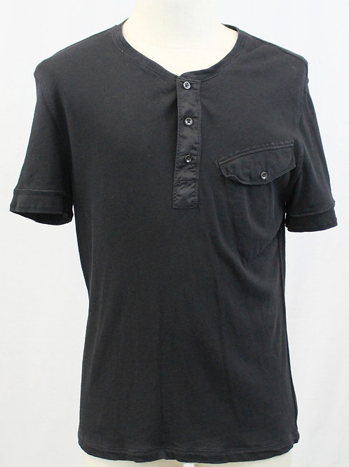Ralph Lauren Black Short Sleeve 3 Button Henley Large
