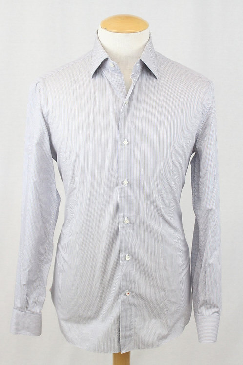 Isaia White Long Sleeve w/ Brown & Blue Stripes 16 1/2 x 34