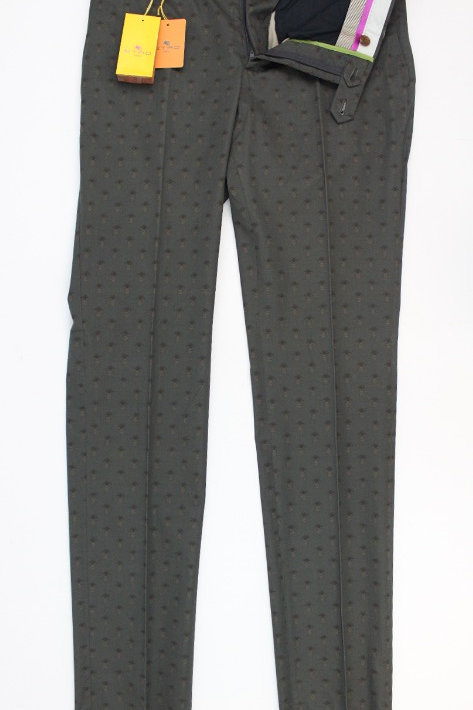 Etro Olive Flat Front Pineapple Print Trouser New w/Tags 32