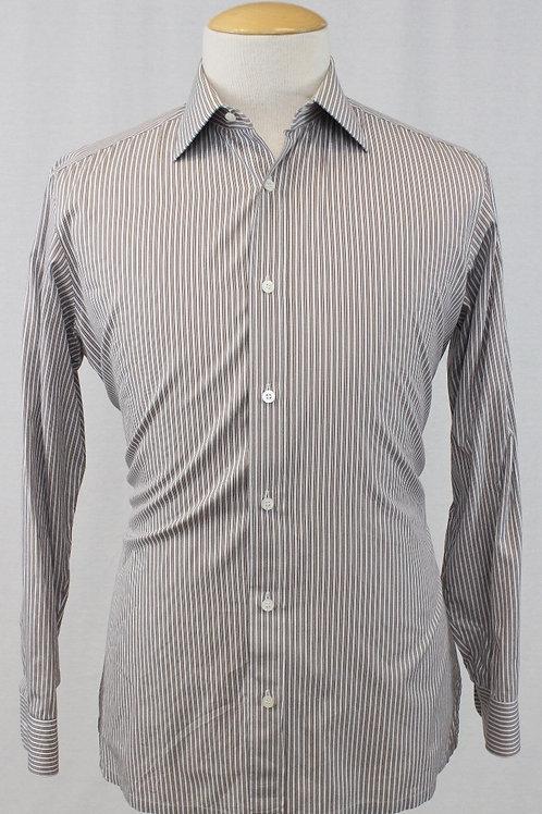 Charvet Brown Long Sleeve w/White & Brown Stripes 16 x 34