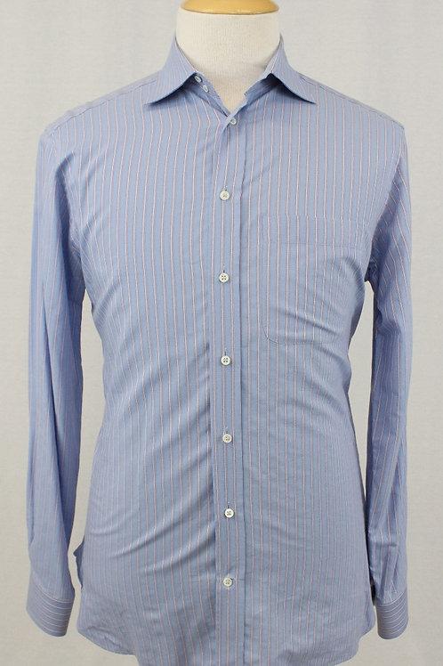 Giorgio Armani Blue Long Sleeve w/Silver Stripe 15 1/2 x 34/35