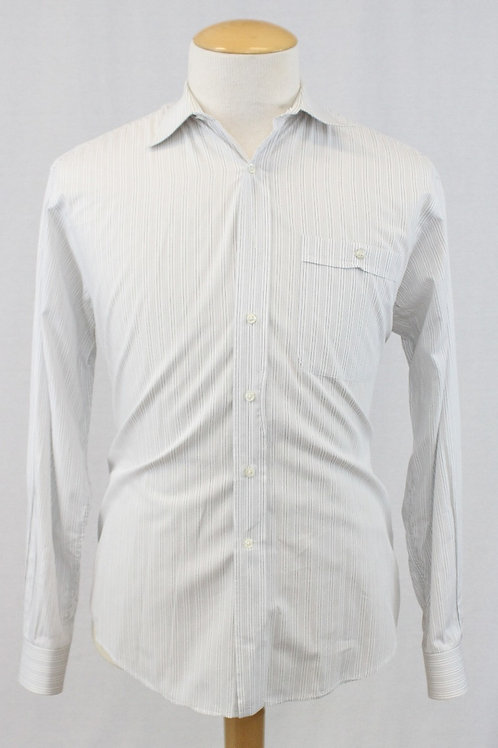 Valentino White Long Sleeve w/Muted Grey Stripes  16 x 35