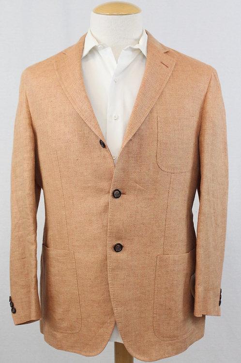 Ingram Peach 100% Linen 3 Button Front w/Patch Pockets 46 Long