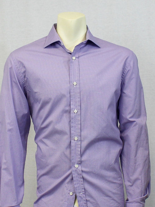 Ralph Lauren Lavender Long Sleeve Micro Check 16 1/2 X 34