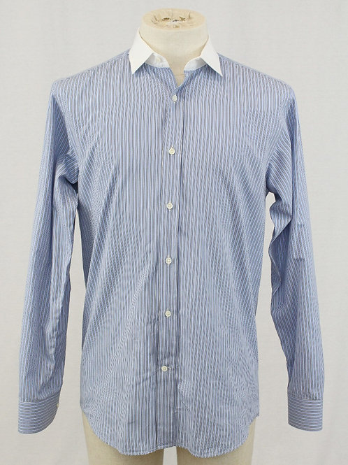 Ralph Lauren Blue Long Sleeve w/Navy & White Stripes 15.5 x 35
