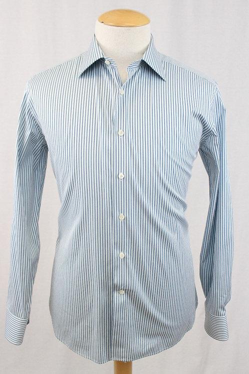 Canali White Long Sleeve w/ Teal Stripe 16 1/2 x 34