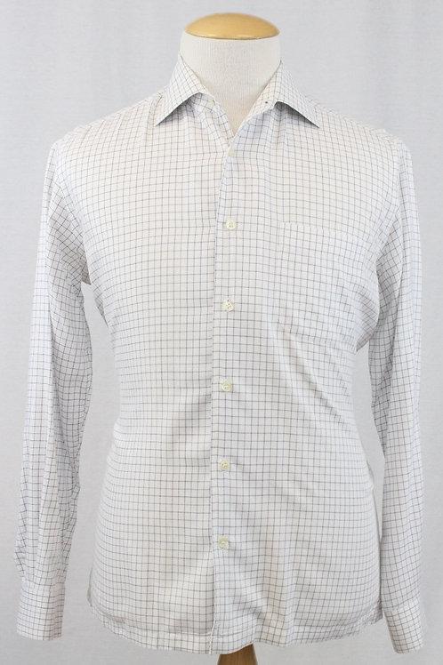 Hugo Boss White Long Sleeve w/Mini Check 15 1/2 x 35