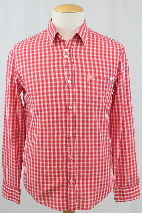 Boss Orange Red Long Sleeve w/White Check Large