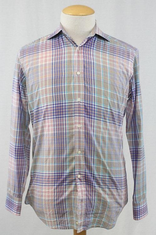 Etro Grey Long Sleeve w/Blue & Purple Plaid Medium