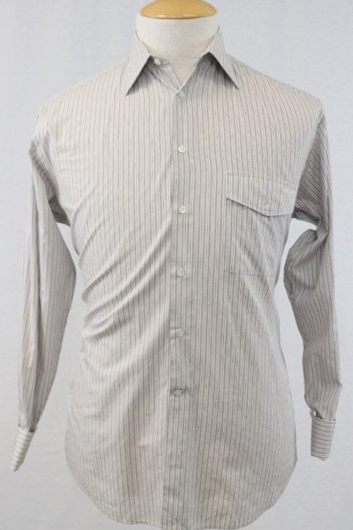 Giorgio Armani White Long Sleeve w/Tan Stripes & French Cuffs 14 1/2 x 33