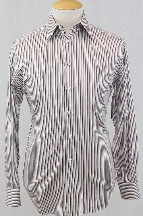 Armani Collezioni White Long Sleeve w/Brown Stripes 16 x 34