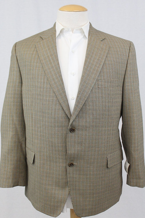 Jack Victor Tan 100% Wool 2 Button Front w/Blue Houndstooth 46 Regular