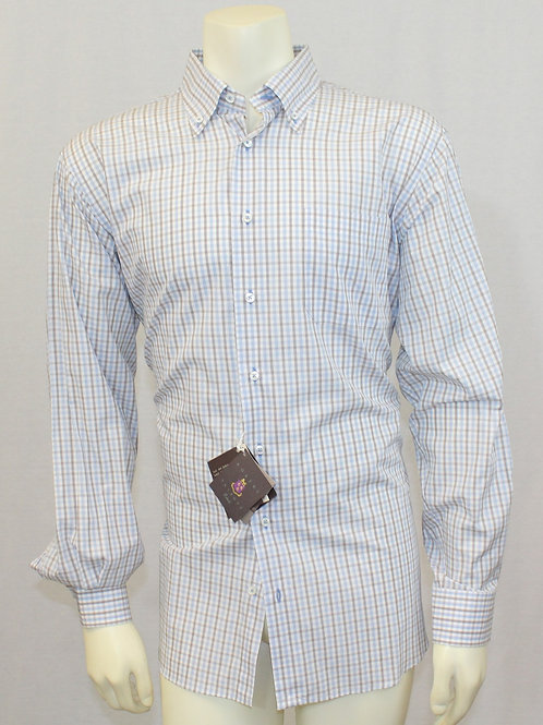 Robert Talbott White Long Sleeve w/Tan & Lt. Blue Check Large