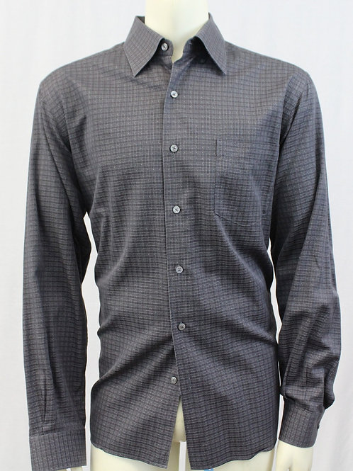 Ermenegildo Zegna Grey Long Sleeve w/Mini Check Large