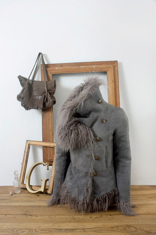 Mongolian lamb jacket & leather bag