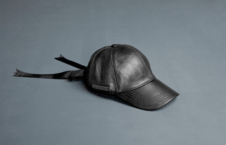 Leather cap with gros grain bowtie