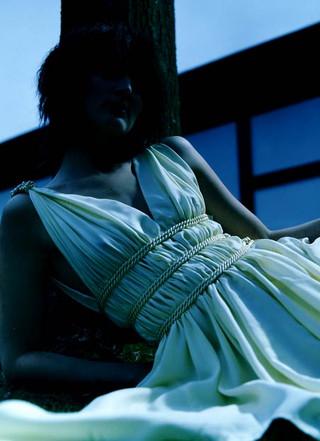Yellow greek goddess silk dress