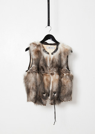 Leather trimmed printed fox vest