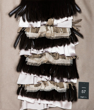 Mixed mink fringes & silk ruffles