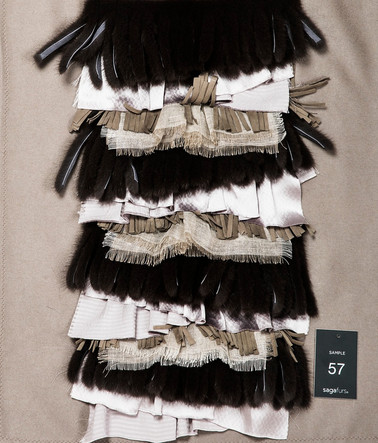 Mixed mink fringes & silk ruffles