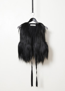 Goat fur vest with gros grain ribbon