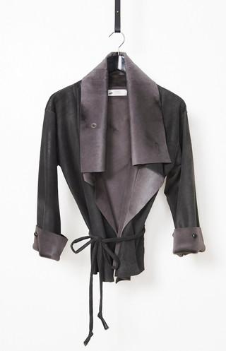 Vintage treated kangaroo wrap jacket
