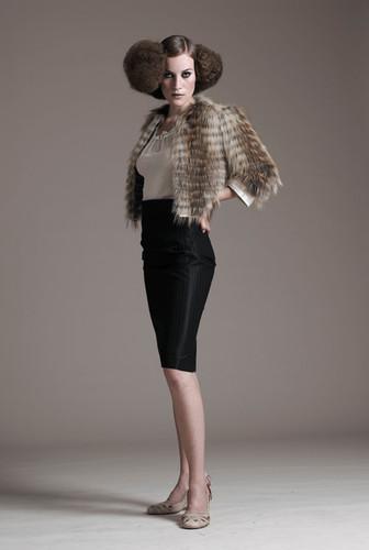 Gold fox on organze jacket & ultra pencil skirt