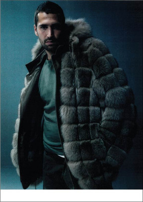 Blue fox hooded jacket