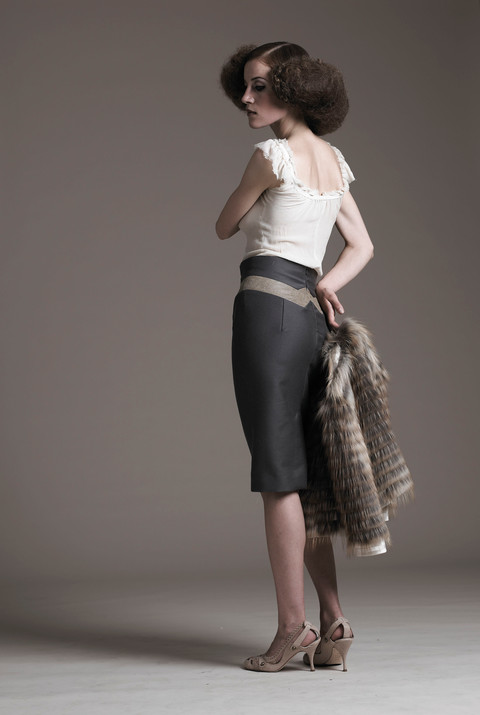 washed silk top and twil & leather pencil