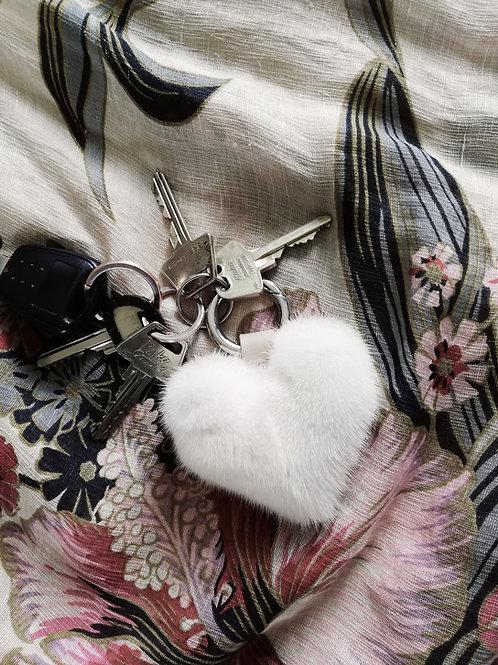 Pearl Mink Heart Keyring
