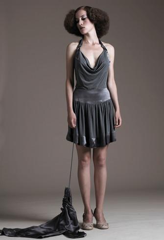 Halter neck top & ruffled mini skirt