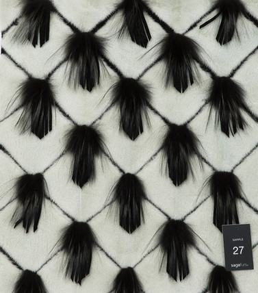 Mink with fox and leather fringes