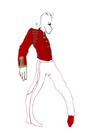 Male dancer costume sketch