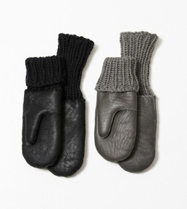 Nappa shealing gloves with handknit rib.