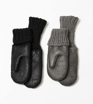 Nappa shealing gloves with handknit rib.