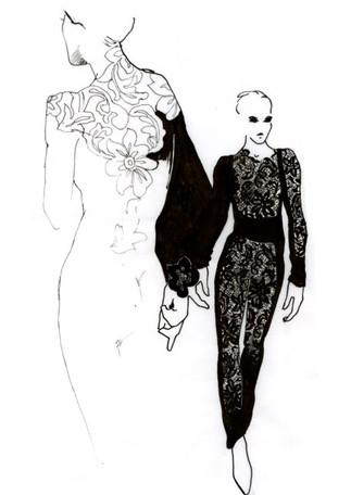 Black lace jumpsuit sketches