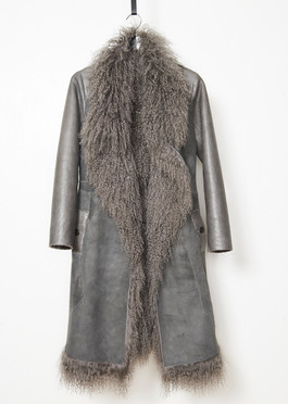 Tibet lamb jacket with shearling sleeves