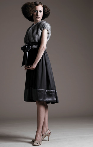 Sapphire mink short sleeve jacket & silk dress