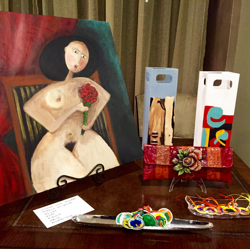 Acrylic on canvas by artist Alvaro Jose.  One of a kind wine bags. Mixed Media by artist Maria Del Rosario