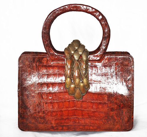 Real Alligator Purse with Antique Bronze Brooch