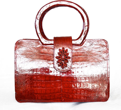 Real Alligator, Cherry Red, Purse with Crystal Brooch