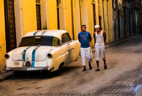 Two Men and One Car in Havana