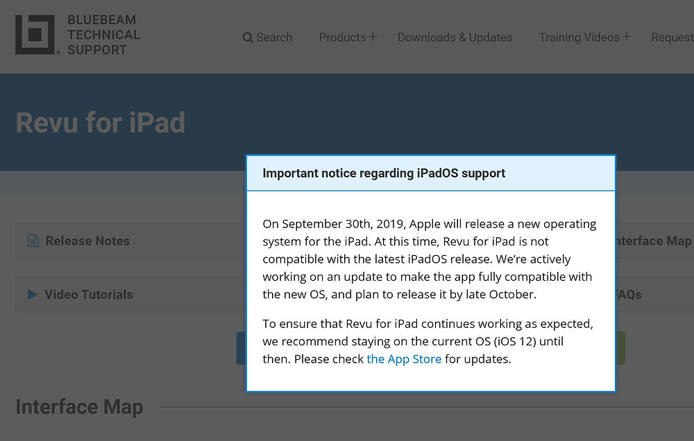 Bluebeam Revu for iPad warning from Bluebeam Support
