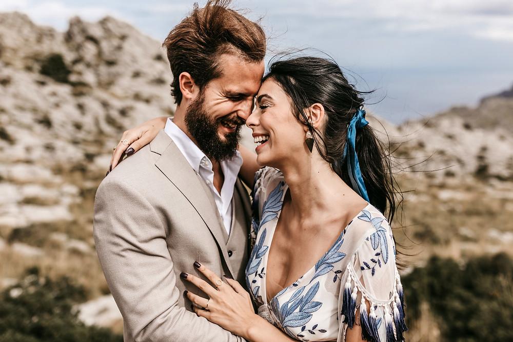 bride in blue Rue de Siene dress, Mallorca elopement