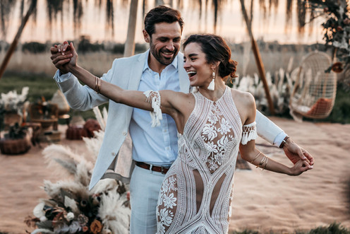 dancing at sunset at wilderness weddings