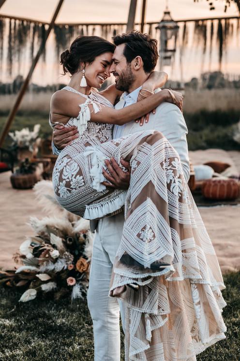 bride in rue de seine dress at wilderness weddings venue in kent