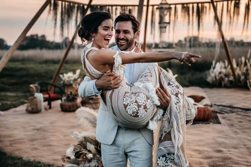 bride in rue de seine dress at wilderness weddings venue