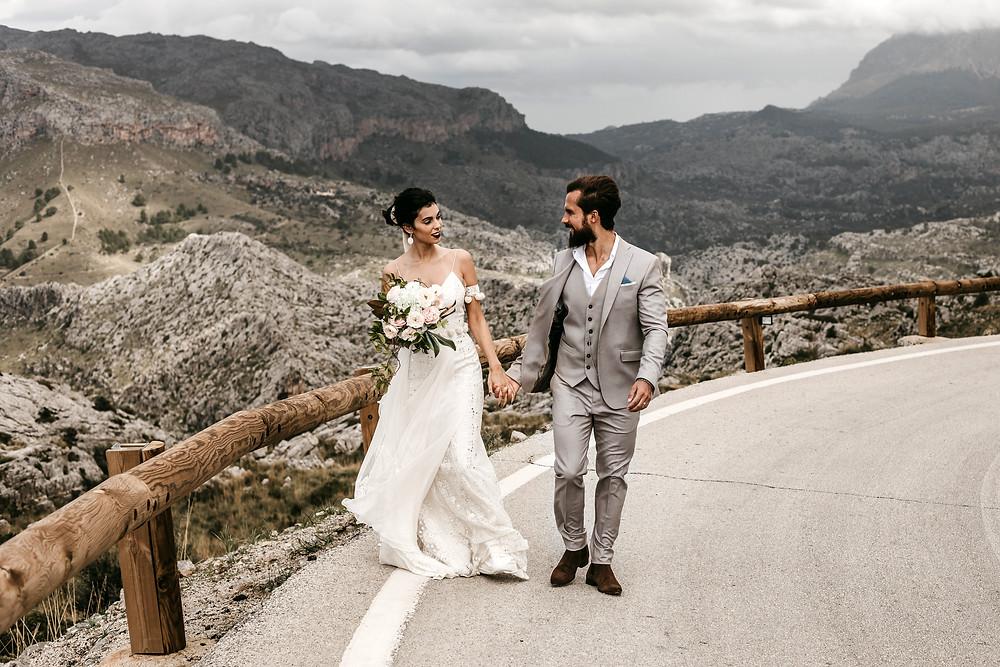 Mollorca mountains wedding couple photography