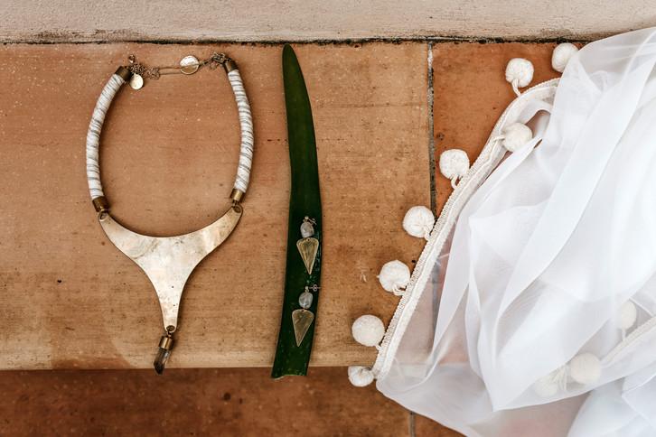 Boho wedding jewellery and pom pom wedding veil