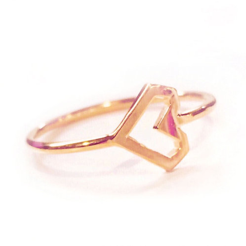 Stacking Ring, Rose Gold Heart, Vermeil